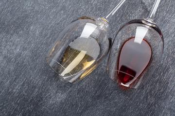 Wine glasses on blackboard