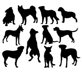 Pet Animal Silhouettes, Pitbull, Terrier, Bulldog, Dog Animal, art vector design
