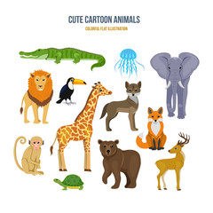 Concept of illustration - cute set cartoon animals.