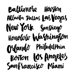 Popular Cities United States of America. Set 15 of city names, hand-drawing of black ink. Vector.