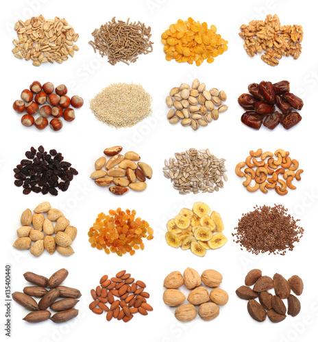 Collection of healthy dried fruits cereals seeds and for Semillas de frutas y verduras