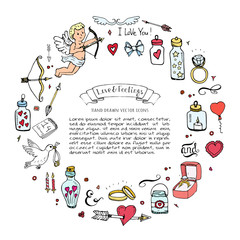 Hand drawn doodle Love and Feelings collection Vector illustration Sketchy Love icons Big set of icons for Valentine's day, Mothers day, wedding, happy and romantic events Hearts hands cupid bouquet