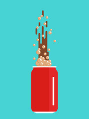 Red tin with soda. Flat design. Vector illustration.