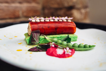 Beautiful and delicious avant-garde dish with different ingredie