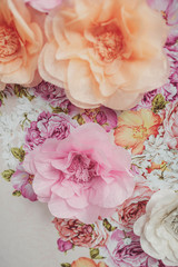 decorations of gentle and beautiful pink and orange flowers