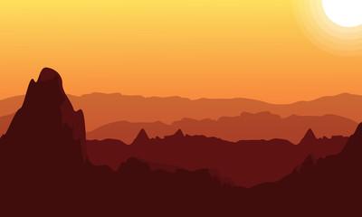 Silhouette of desert at sunset landscape