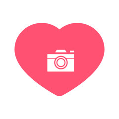 camera heart. camera icon inside heart background vector illustration