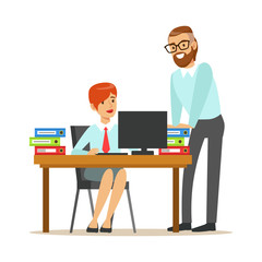 Woman Sitting At Her Desk Talking With Male Colleague, Part Of Office Workers Series Of Cartoon Characters In Official Clothing