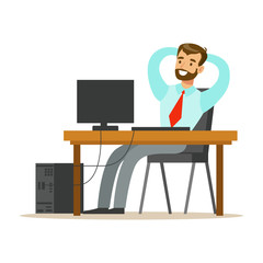 Man Resting And Stretching At His Desk, Part Of Office Workers Series Of Cartoon Characters In Official Clothing