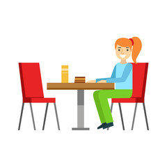 Girl Sitting At The Table Eating A Cake, Smiling Person Having A Dessert In Sweet Pastry Cafe Vector Illustration