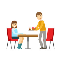 Guy Briniging Cakes To The Girl At The Table, Smiling Person Having A Dessert In Sweet Pastry Cafe Vector Illustration