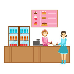 Girl Ordering A Cake At The Counter, Smiling Person Having A Dessert In Sweet Pastry Cafe Vector Illustration