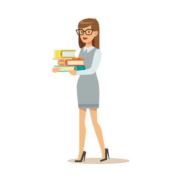 Woman In Glasses Carrying Pile OF Books, Smiling Person In The Library Vector Illustration
