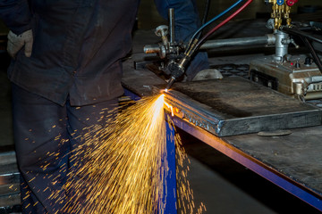 gas cutting of metal sparks