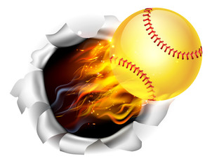 Flaming Softball Ball Tearing a Hole in the Background