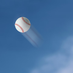 Baseball flying into the sky.
