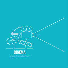 Abstract background with popcorn, 3D glasses,  camera and  tickets. The concept of a cinema and watching a movie. Layout, flyer, poster for announcement. Logo thin line.