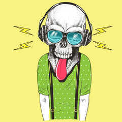 Hand drawn skull listening to music in headphones