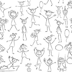 Sketch drawing little girls in different poses seamless pattern