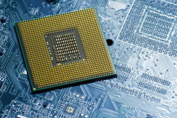 Processor on blue circuit board with gold-plated contacts close up