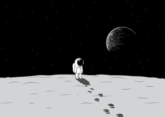 Cartoon spaceman explore a moon