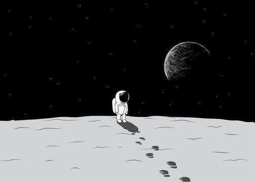 Cartoon spaceman explore a moon