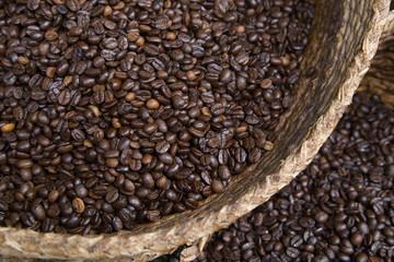 coffee in the wicker basket