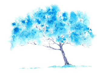 Blue tree. Watercolor hand drawn illustration.