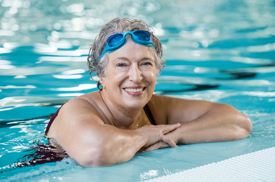 Elderly woman in pool