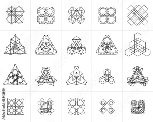 set of geometric symbols logos elements mono lines emblems sacred