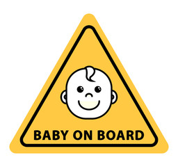 Baby on board sign on yellow triangle, flat vector illustration
