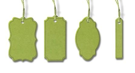 Grüne Kartonanhänger - Set