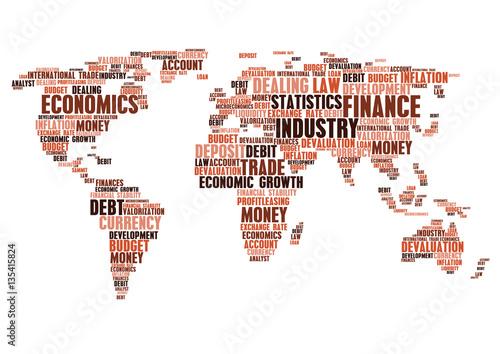 Business Finance Word Cloud Tags World Map Shape Stock Image - World map shape
