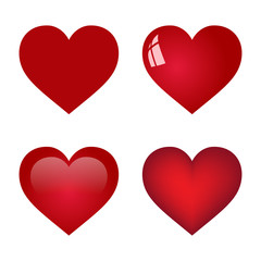 red vector heart collection on white background