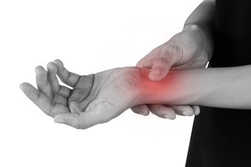 women has inflammation and swelling cause a pain the sore wrist, isolated on white background.