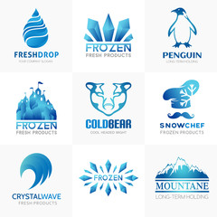 Frozen products logo collection.