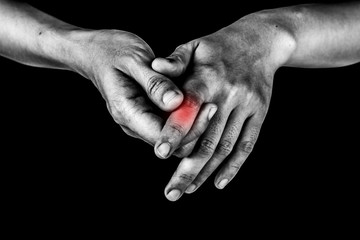 women has inflammation and swelling cause a pain the Injured painful finger, isolated on white background.