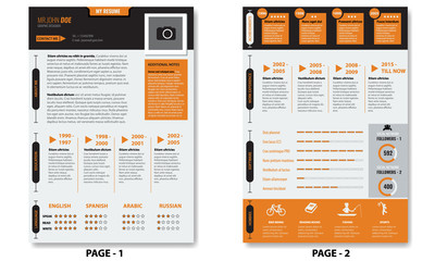 Vector creative minimalist cv resume template with two pages.