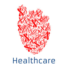 Healthcare red heart symbol of vector DNA helix