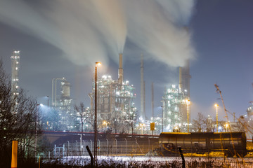 oil processing plant at night, long time exposure