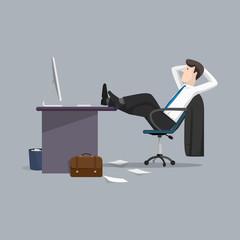 Vector illustration businessman relaxing between work