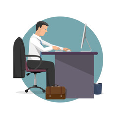 Vector illustration of manager working on computer