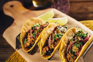 Delicious mexican cochinita pibil tacos