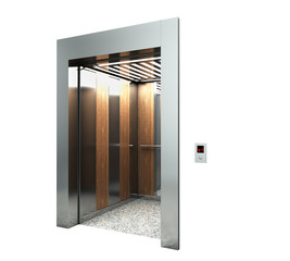 Realistic blank elevator hall interior with waiting lift marble