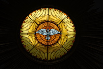 Friedenstaube in Glasfenster