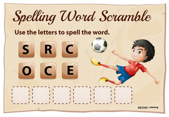 Spelling word scramble game template with word soccer