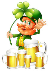 Leprechaun and fresh beer in mugs