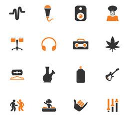 Reggae icons set