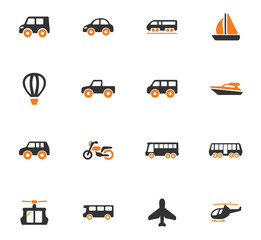 Public transport icons set