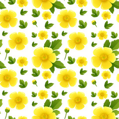 Seamless background design with yellow flowers